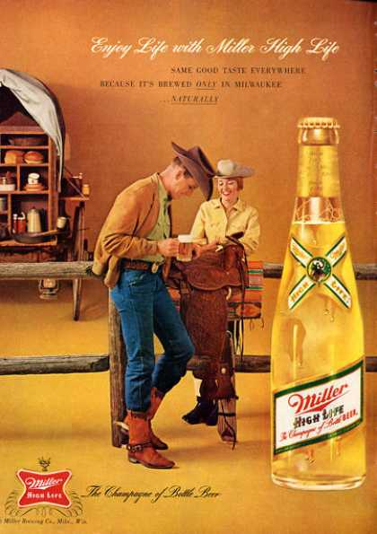 Miller High Life Beer Ad Bottle Snow Ski (1962)