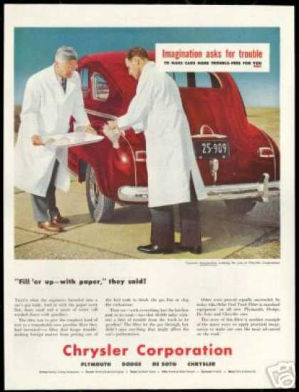 Chrysler Corporation New Car Gas Filter Test (1947)