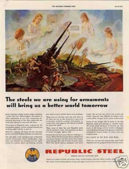 Wwii Republic Steel Ad Anti-aircraft Guns (1942)