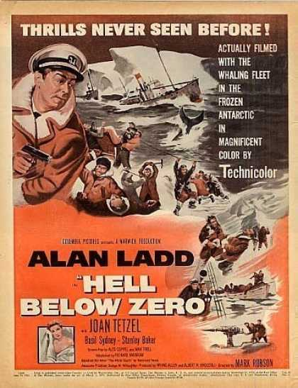 "Movie Ad ""Hell Below Zero"" Alan Ladd (1954)"