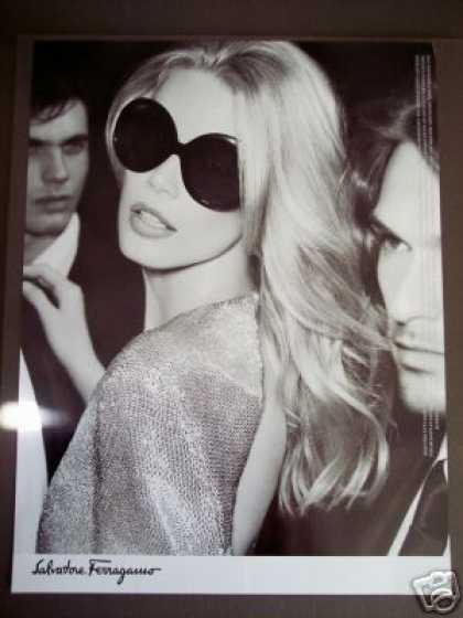 Claudia Schiffer In Salvatore Ferragamo Sun Glasses