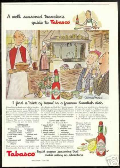 Ludwig Bemelmans Art Swedish Recipe Tabasco (1958)