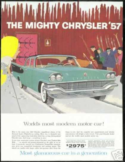 Chrysler 4 Dr Vintage Print Snow Ski Skiers Car (1957)
