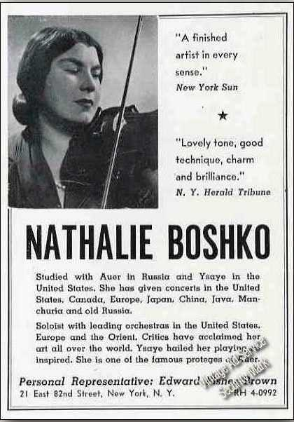 Nathalie Boshko Photo Violin Booking (1951)