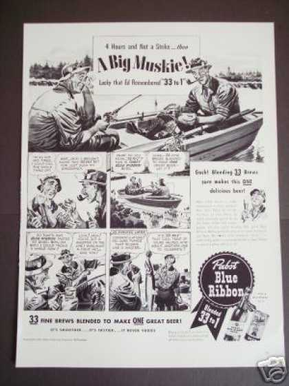 Muskie Fishing Pabst Blue Ribbon Beer (1941)
