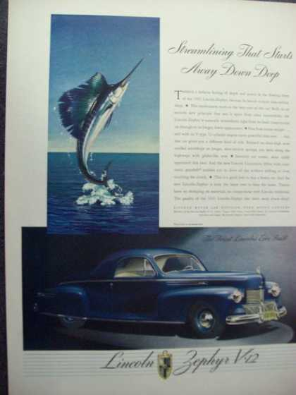 Lincoln Zephyr V12 Blue Coupe Car (1941)