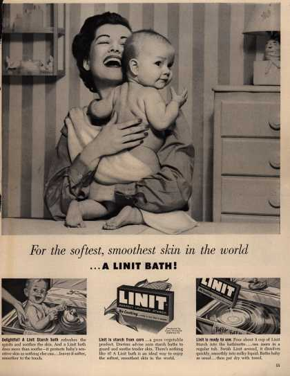 Linit's Perfect Laundry Starch – For the softest, smoothest skin in the world... A Linit Bath (1954)