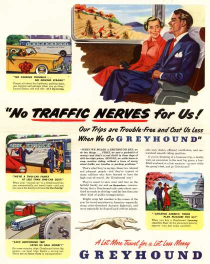 "Greyhound – ""No Traffic Nerves for Us! Our Trips are Trouble-Free and Cost Us Less When We Go GREYHOUND"" (1949)"