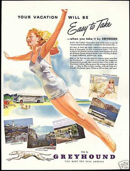 Greyhound Bus Travel Woman Swimsuit (1947)