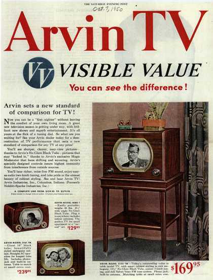 Arvin Industrie's various – Arvin TV Visible Value You can see the difference (1950)