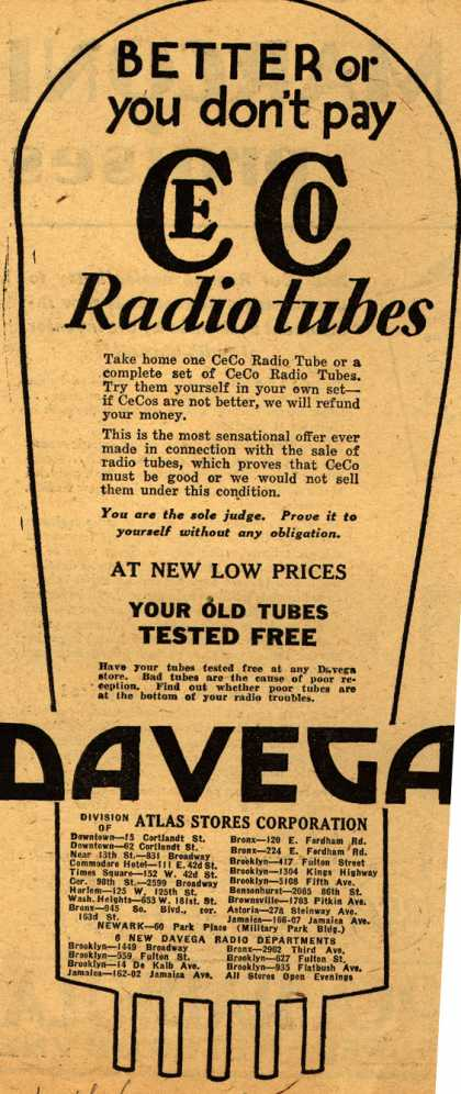 CeCo Manufacturing Company's Radio Tubes – Better or you don't pay CeCo Radio tubes (1930)