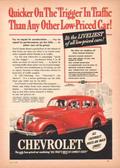 Chevrolet Red Sedan Car (1939)
