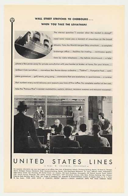 Wall Street Blackboard US Lines Leviathan Ship (1930)