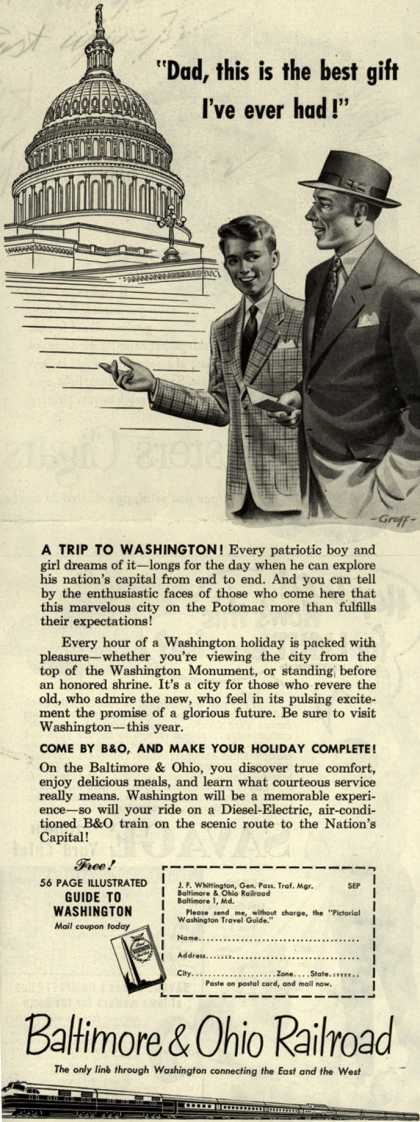 "Baltimore & Ohio Railroad's Washington D.C. – ""Dad, this is the best gift I've ever had!"" (1953)"