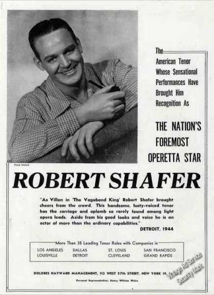 "Robert Shafer ""Nations Foremost Operetta Star"" (1944)"