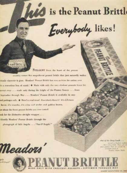 "Meador's Peanut Brittle's ""This is the Peanut Brittle Everybody likes!"" (1945)"