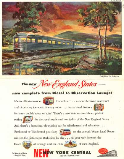New York Central System's Boston & Albany route – The new New England States-now complete from Diesel to Observation Lounge (1949)
