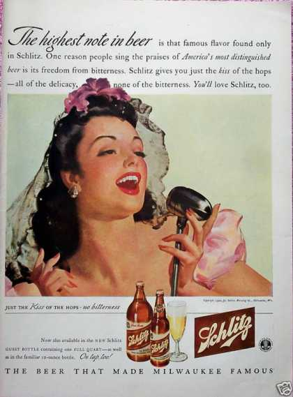 Schlitz Beer Latin Lady Singer Microphone High (1942)