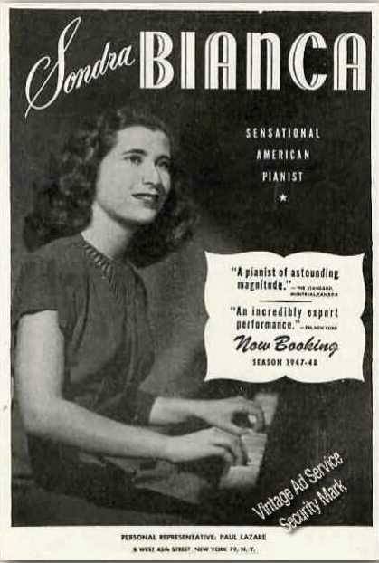 Sandra Bianca Photo Pianist Antique Booking (1947)