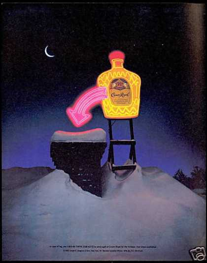 Crown Royal Whisky Neon Bottle Holiday Help (1993)