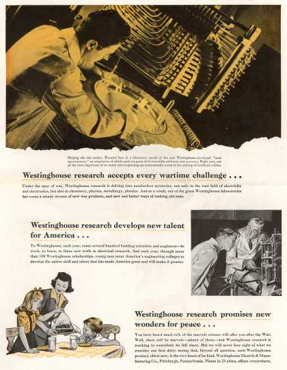 Westinghouse Electric & Manufacturing Company's Various – Westinghouse research accepts every wartime challenge... (1943)