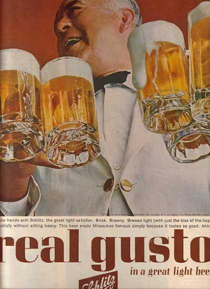 """Real gusto in a great light beer."" (1963)"