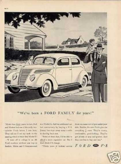 "Ford V-8 Car Ad ""We've Been a Ford Family... (1937)"