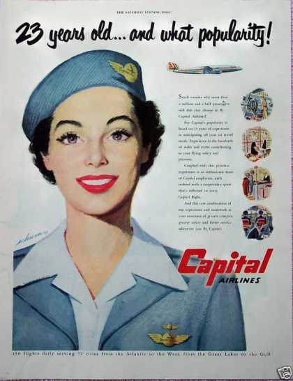 Capital Airlines Pretty Stewardess Popularity (1950)