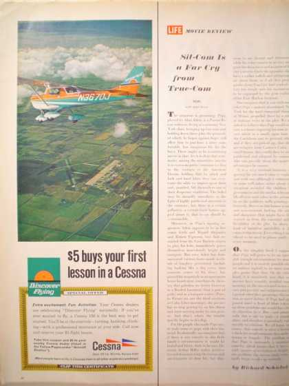 Cessna Plane Airplane $5 buys first lesson Aerial shot 1/2 pg (1969)