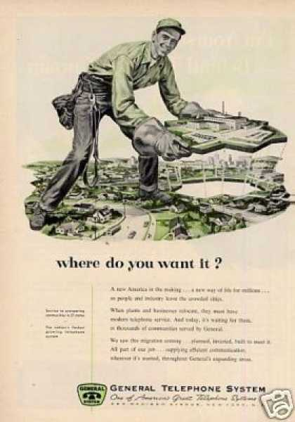 "General Telephone Ad ""Where Do You Want... (1955)"