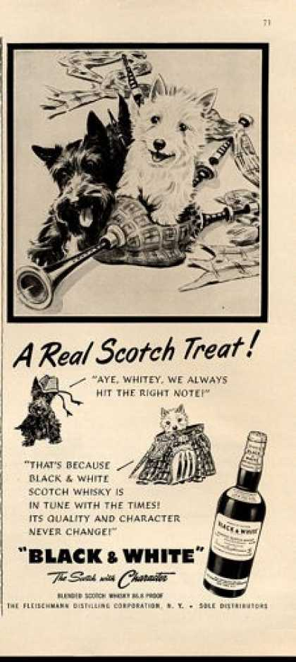 Black & White Scotch Bagpipes Scottie Dog (1952)