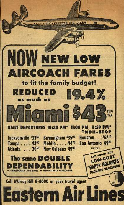 Eastern Air Line's Miami – Now New Low Aircoach Fares (1952)