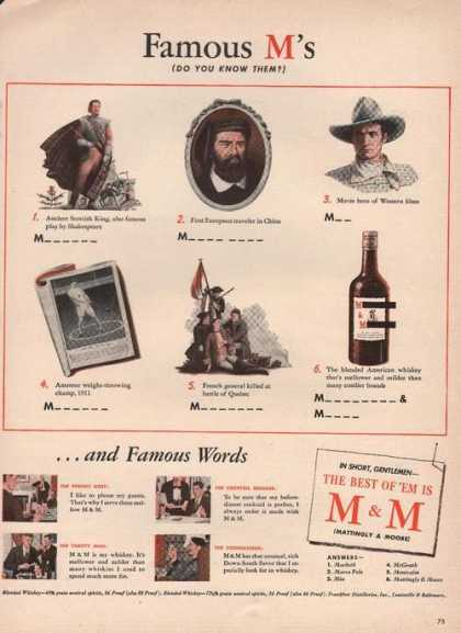 Famous M's Mattingly & Moore Whiskey (1942)