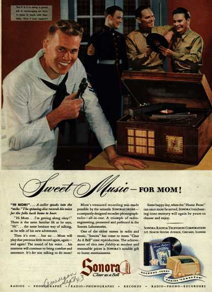 Sonora Radio and Television Corporation's Recorder-phonograph-radio – Sweet Music – For Mom (1943)