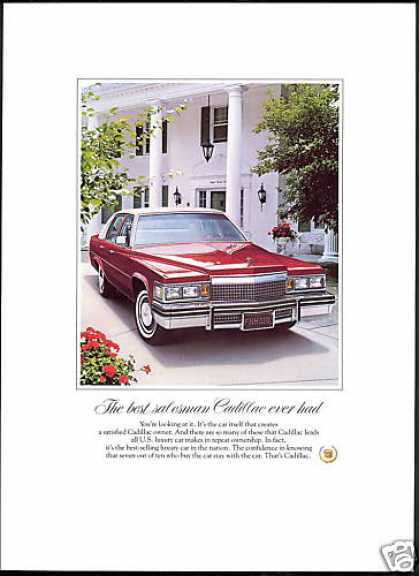 Cadillac Red White 4 Dr Car Photo (1979)