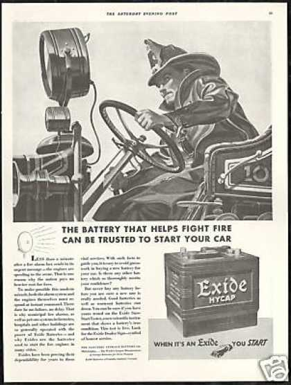 Fire Engine Truck Fireman Exide Battery (1939)