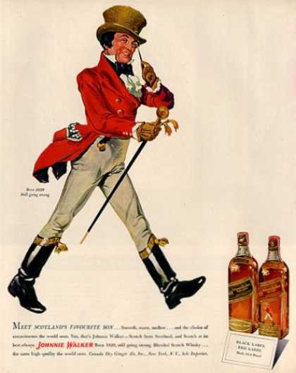 Johnnie Walker Whisky Bottle Scotland (1950)