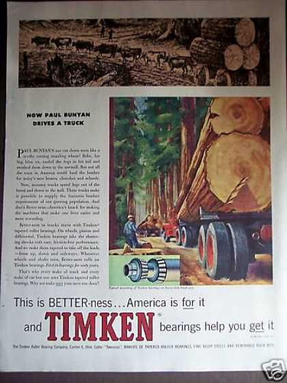 Logging Truck Art Timken Bearings (1959)