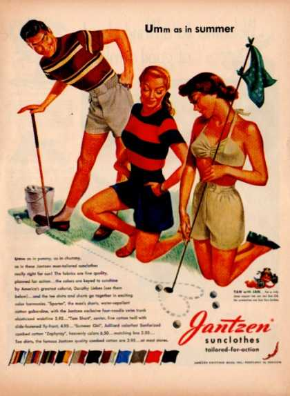 Jantzen Sunclothes Swimsuits Pretty Girls Golf (1948)