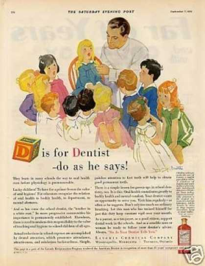 "Lavoris Color Ad ""D Is for Dentist... (1929)"