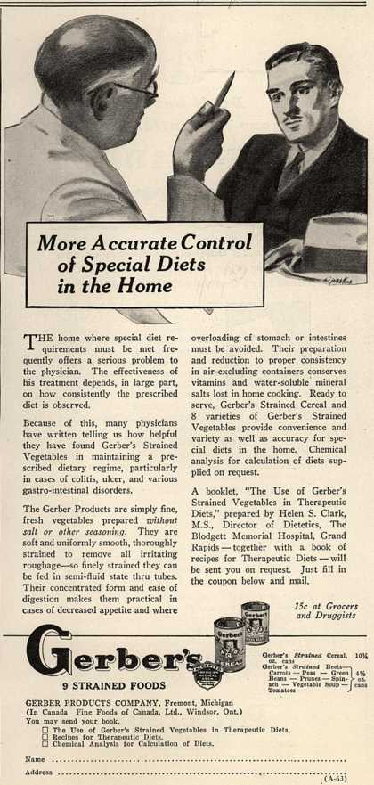 Gerber Products Company's Gerber Strained Foods – More Accurate Control of Special Diets in the Home (1933)