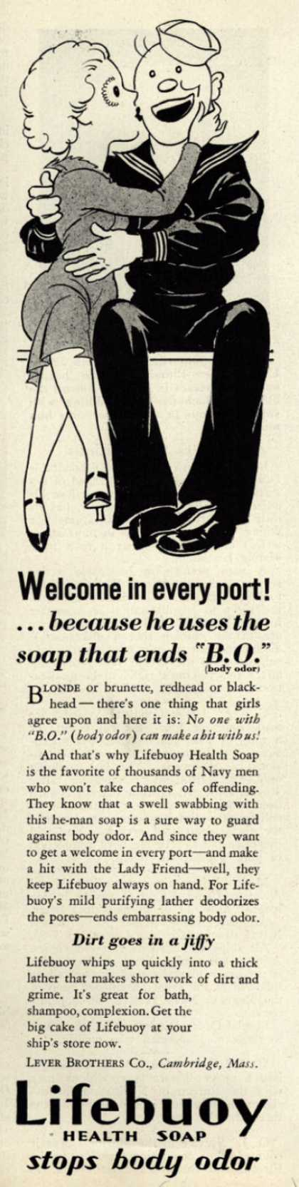 "Lever Brothers Company's Lifebuoy Health Soap – Welcome in every port!... because he uses the soap that ends ""B.O."" (1935)"