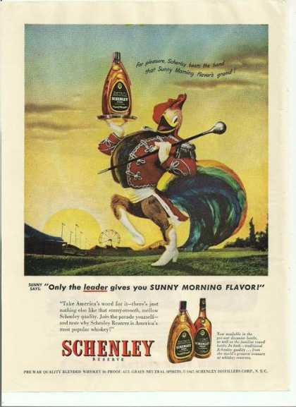 Schenley Whiskey Sunny Morning Flavor (1947)