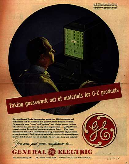 General Electric Company's Various – Taking guesswork out of materials for G-E products (1948)