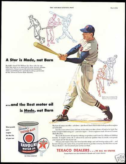 Baseball Ted Williams Practice Texaco Oil (1954)