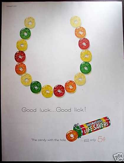 Life Savers Candy Good Luck Lick Horseshoe (1959)