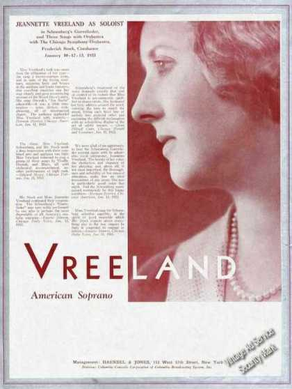 Jeanette Vreeland Photo American Soprano Trade (1933)