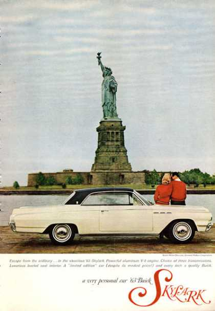 Buick Skylark at Statue of Liberty Ellis Island (1963)