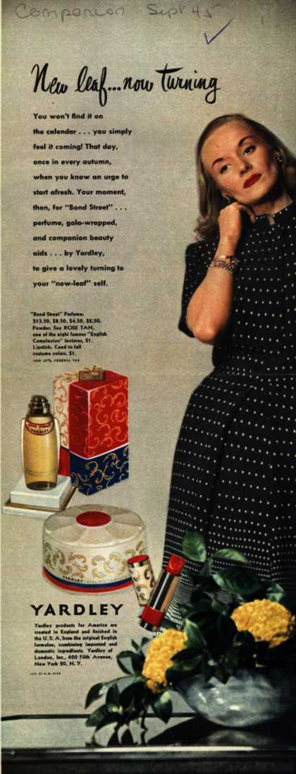 Yardley of London's Bond Street Cosmetics – New leaf...now turning (1945)