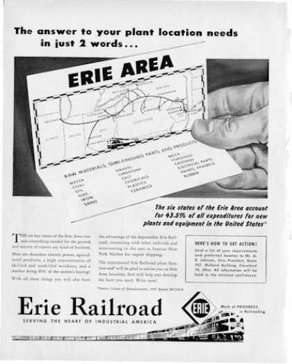 Erie Railroad Area Map Great Detailed (1950)